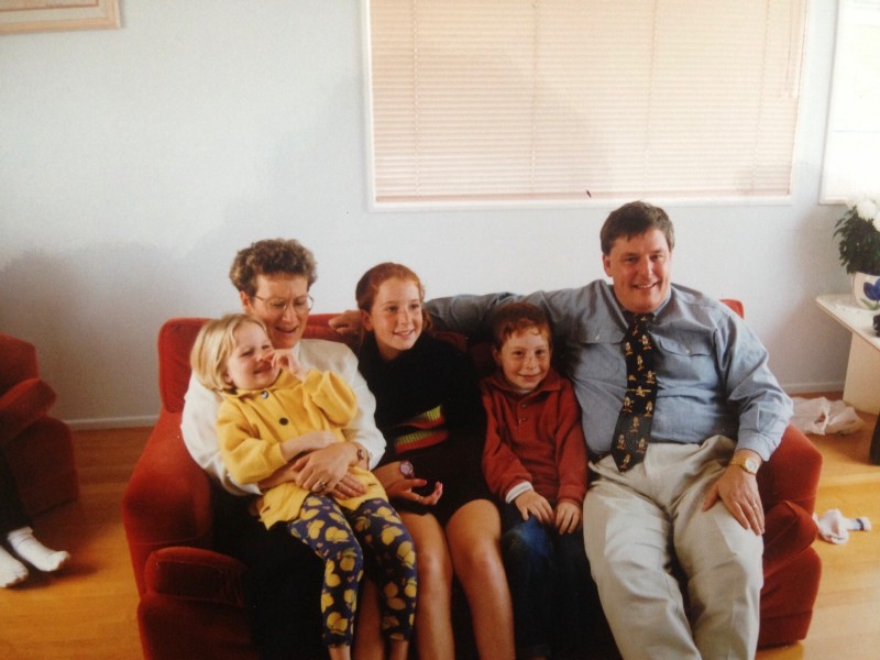 My incredible family, circa 1997. I'm the kid picking hernose.