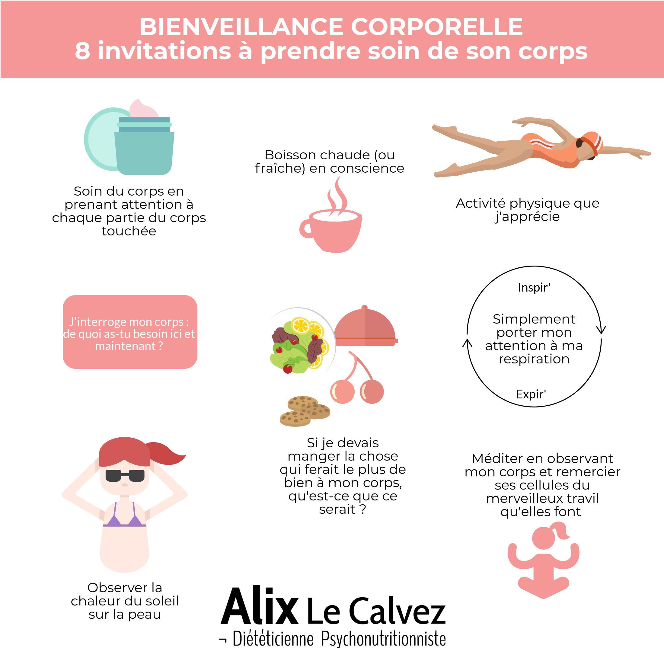 8 propositions à expérimenter la bienveillance corporelle par Alix Le Calvez Diététicienne Psychonutritionniste