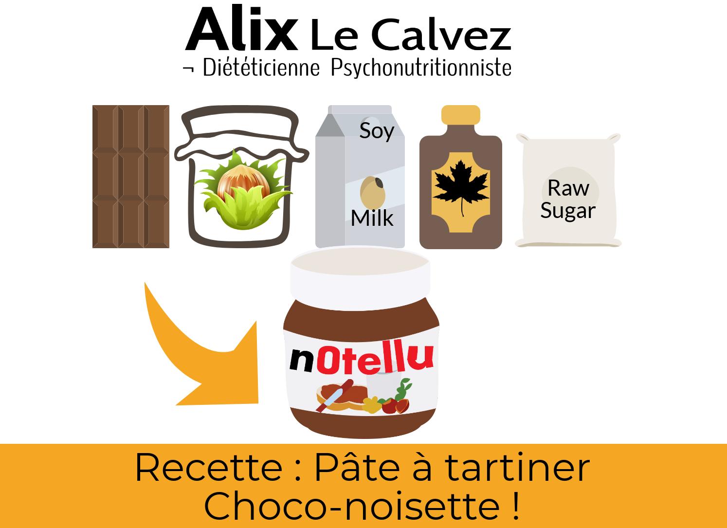 pâte à tartiner chocolat-noisette par Alix Le Calvez Diététicienne Psychonutritionniste