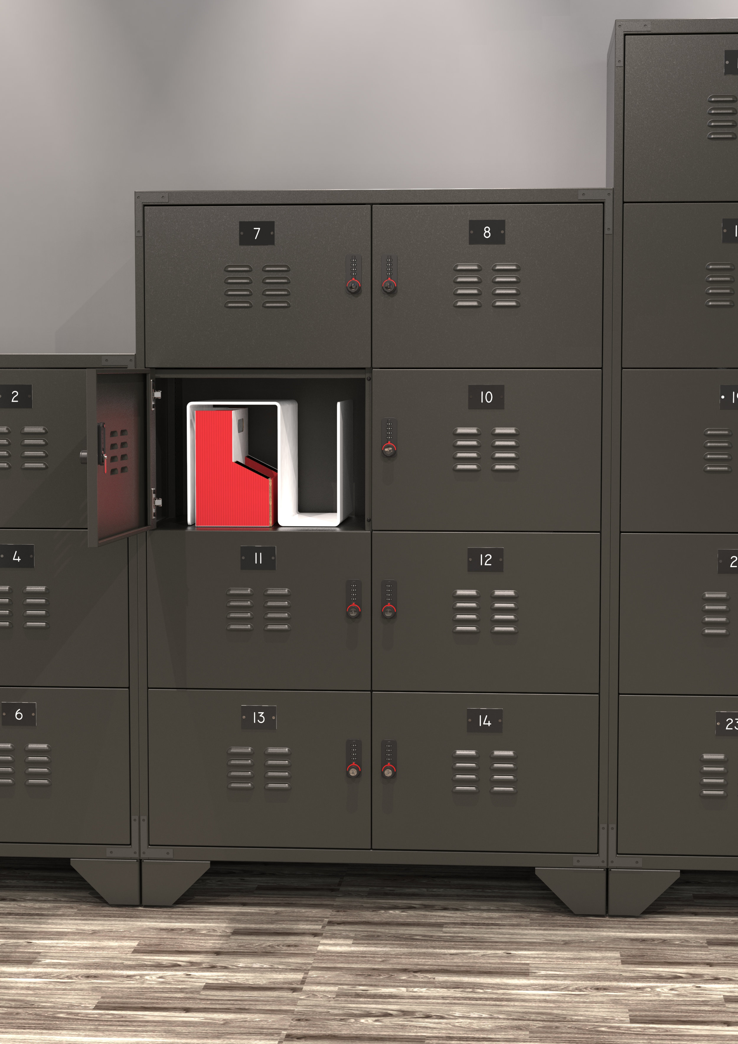 Gi LOCKERS - Gi Lockers will work in both traditional and creative office environments providing personal storage, privacy and space division within the workplace.Designed with a modern-day interpretation of vintage industrial style, we have created a piece that is both sleek and rough around the edges at the same time.Gi Lockers are available 4 different colours in blocks of 6, 8 or 10. They are manufactured in the UK and are 98% recyclable.