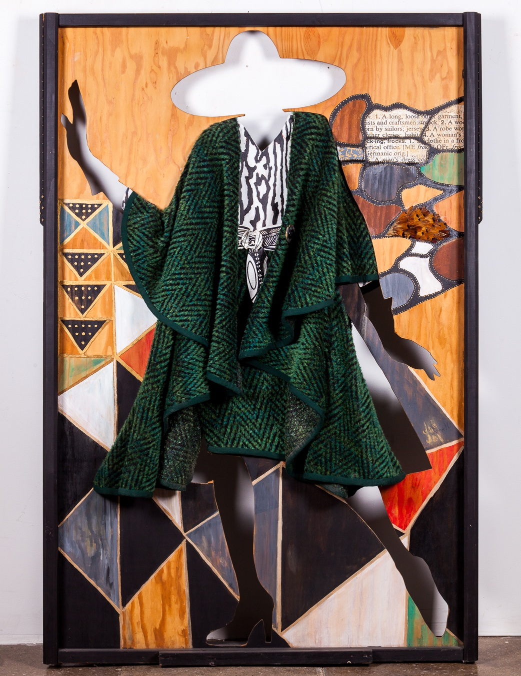 Jae Jarrell, Frock You, 1994, Wool, wood, mixed media 73 x 48 x 6 inches