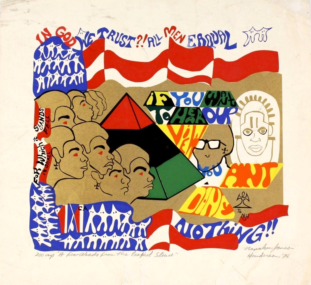 Napoleon Jones-Henderson, A Few Words from the Prophet Stevie, 1976, Silkscreen artist proof, 16 x 15 inches