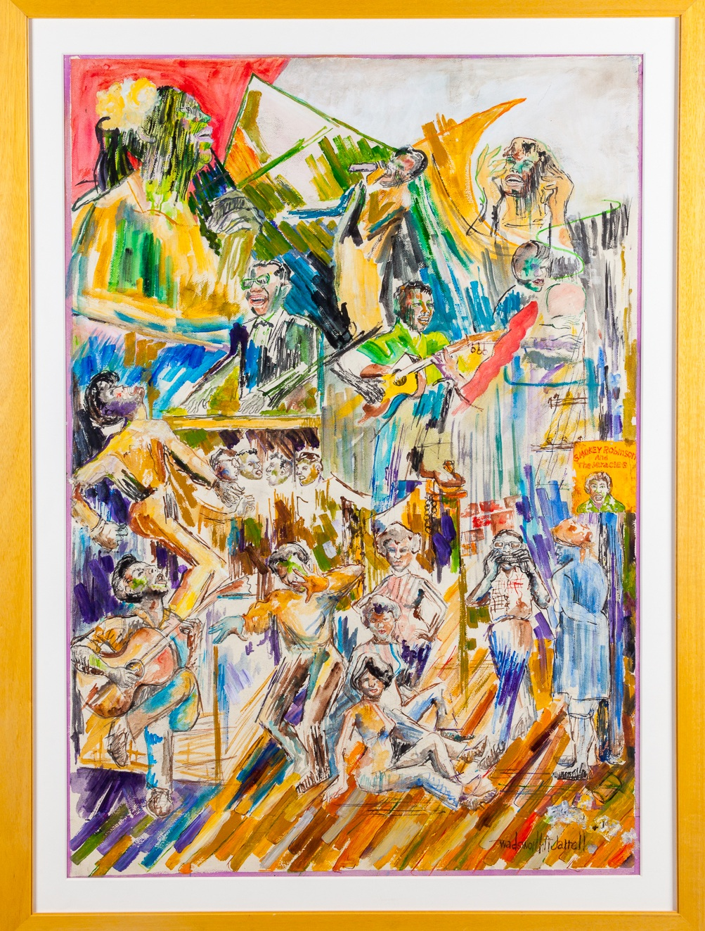 Wadsworth Jarrell, Study for Wall of Respect, 1967, Gouache, 44 x 30 inches