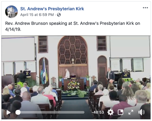 Freed Pastor Andrew Brunson speaks at St Andrew'sPresbyterian Kirk in Nassau on April 14, 2019, Click to watch on Facebook.