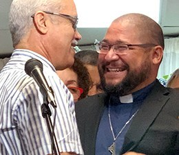 Carlos Sierra Pou (right) was received by the Presbytery of Florida and Caribbean as the first Candidate Under Care from an EPC congregation in Puerto Rico.