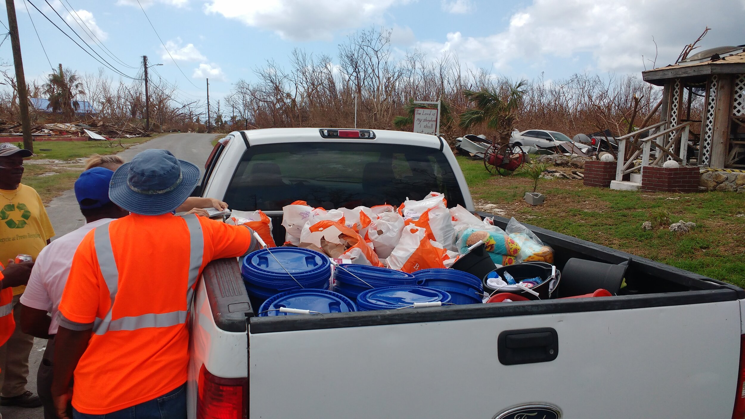 Delivering supplies to needy families in High Rock