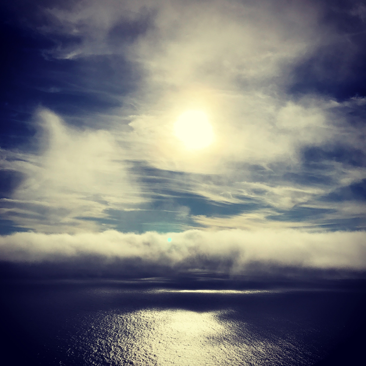 Mixed Clouds Over Pacific Ocean