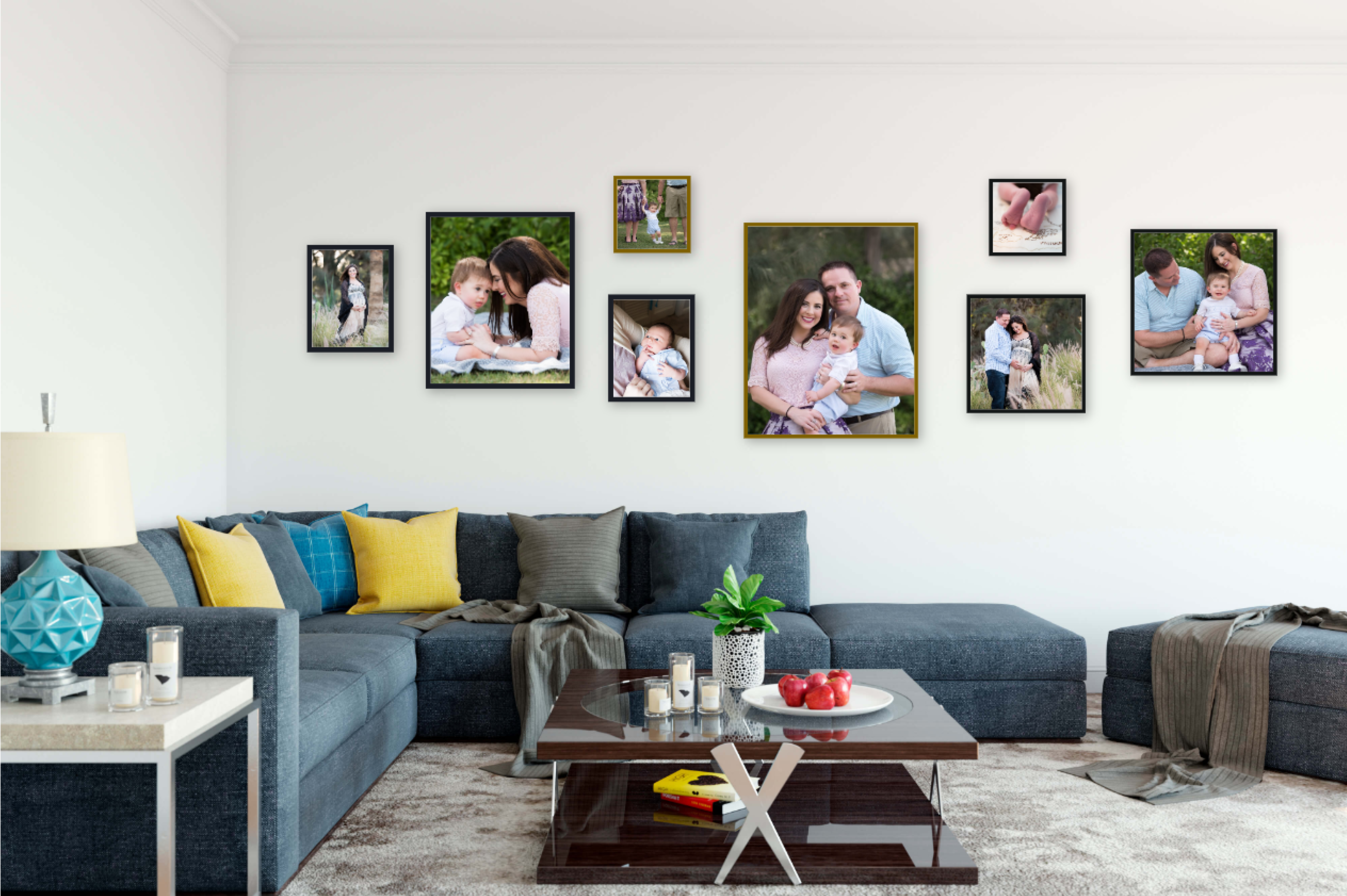 "Multiple Family Events Gallery Wall Inspiration  Frame Sizes (from left to right): 11x14"", 20x24"", 10x10"", 11x14"", 24x30"", 10x10"", 16x16"", 20x20""  Total Gallery Wall Size: 140""x40"""
