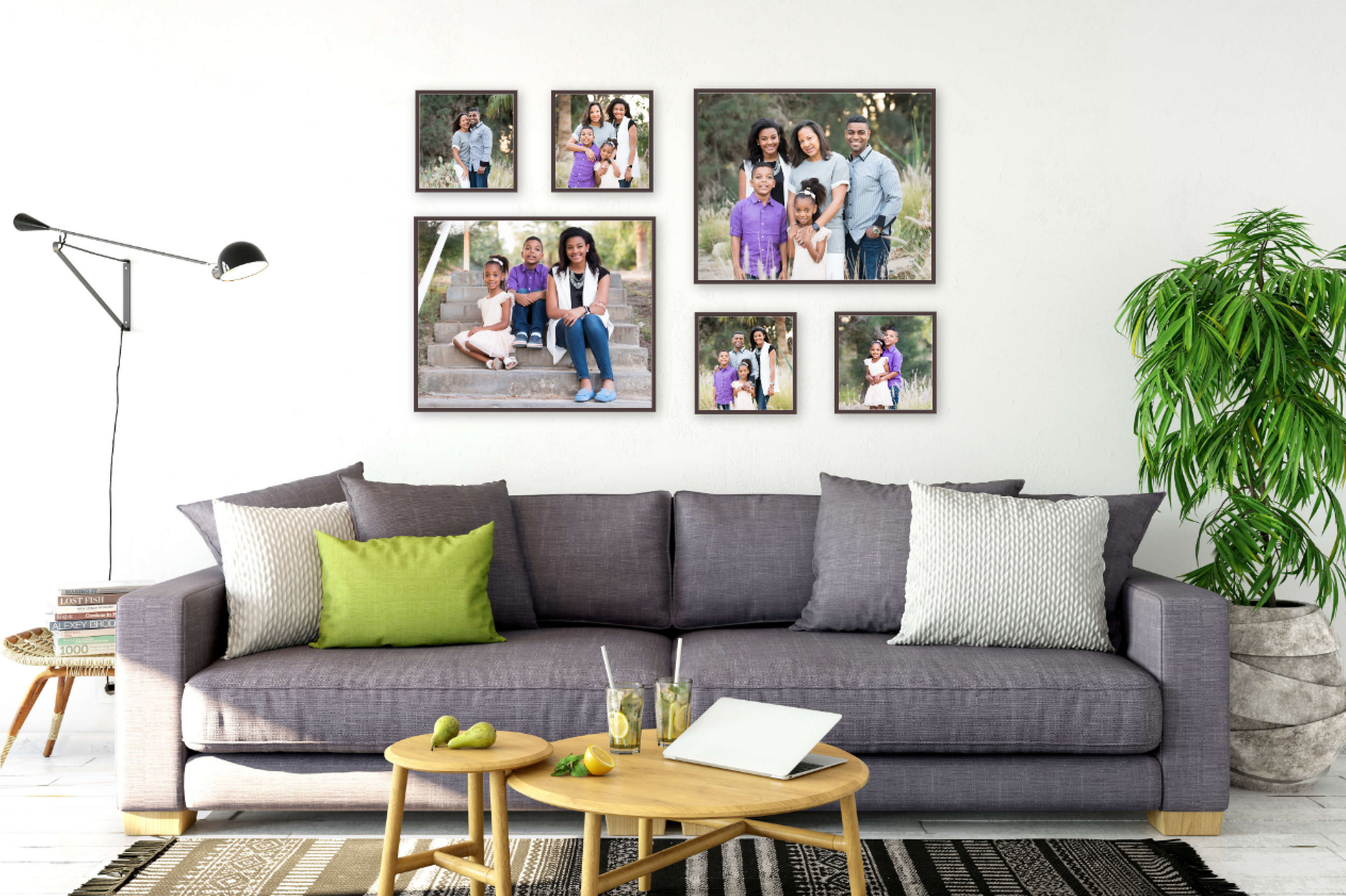 "Family Gallery Wall Showcase  Frame Sizes: (4) 12x12"" and (2) 24x30""  Total Gallery Wall Size: 67"" x 42"""