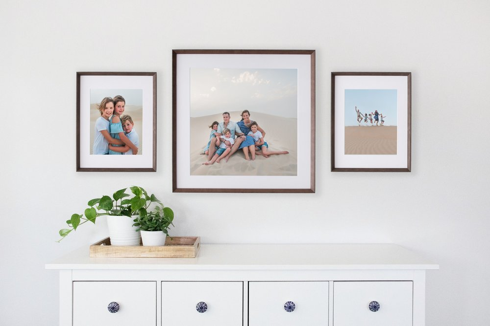 Example of family photos by victoria bc portrait photographer in frames and wall art