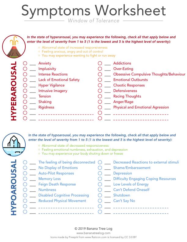 Window of Tolerance Symptoms Worksheet