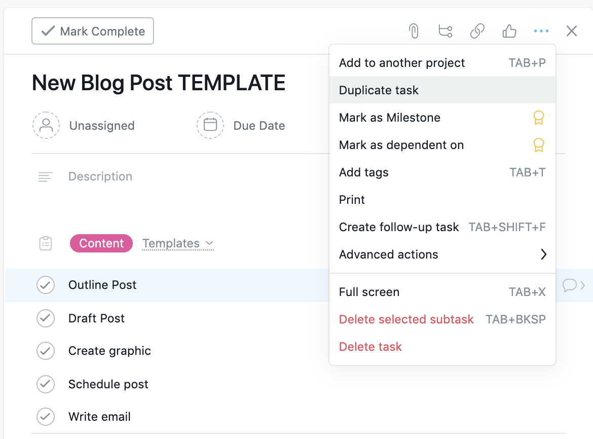 Sample Blog Post Template — just click duplicate task and change out the task title to your blog post title