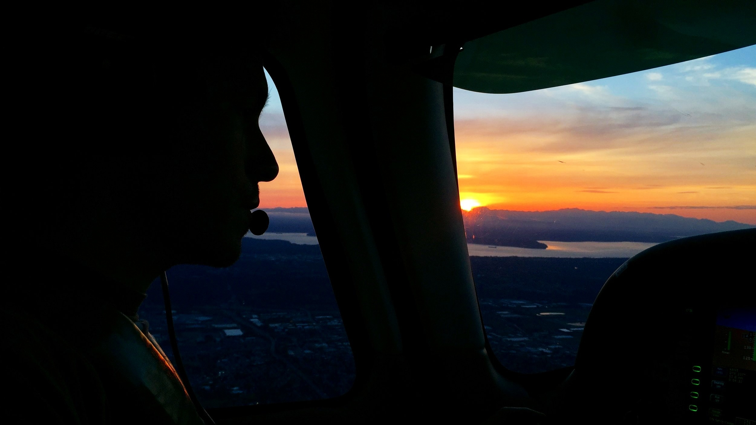 Sunset flying over Seattle, Washington May 2019