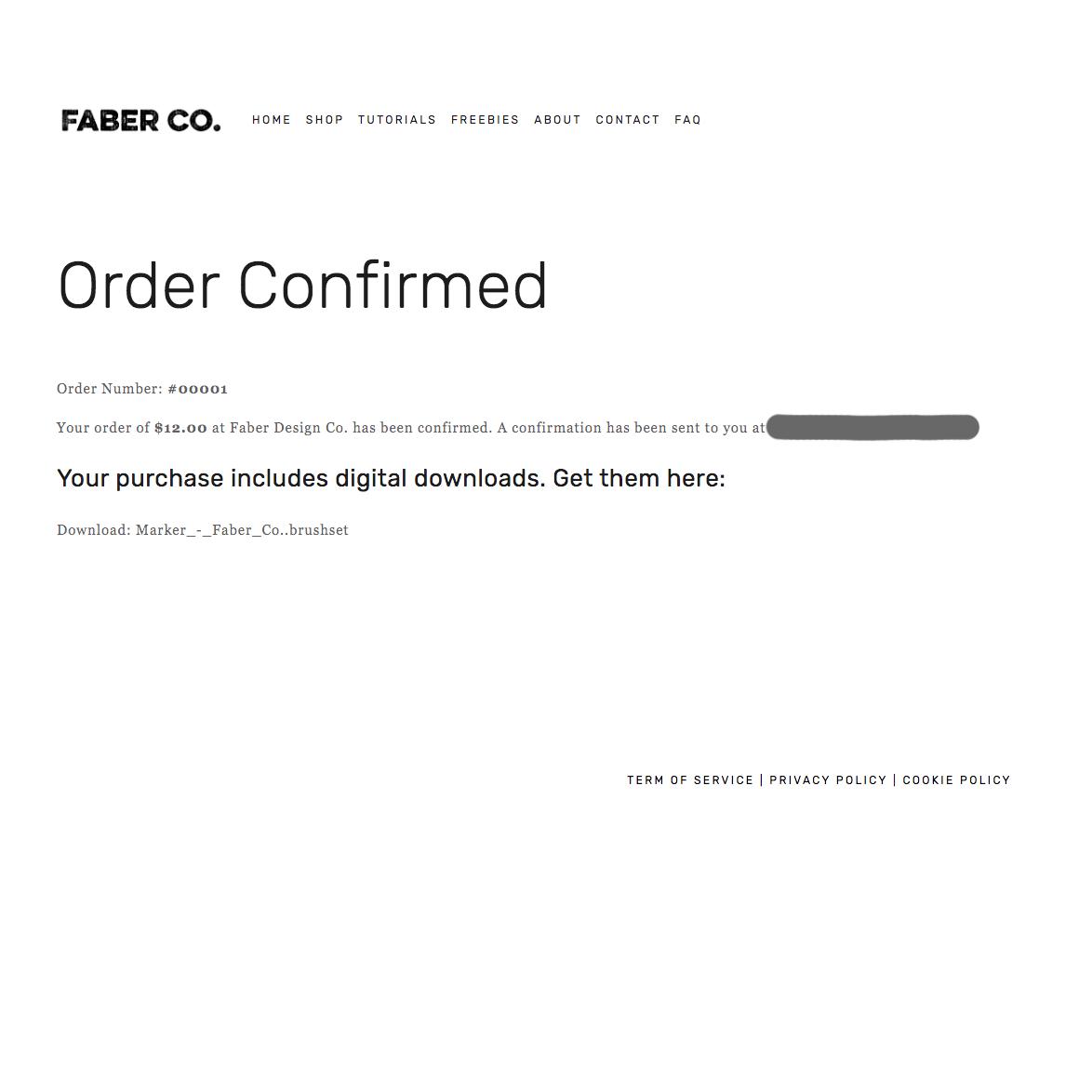 Order Confirmation on Website