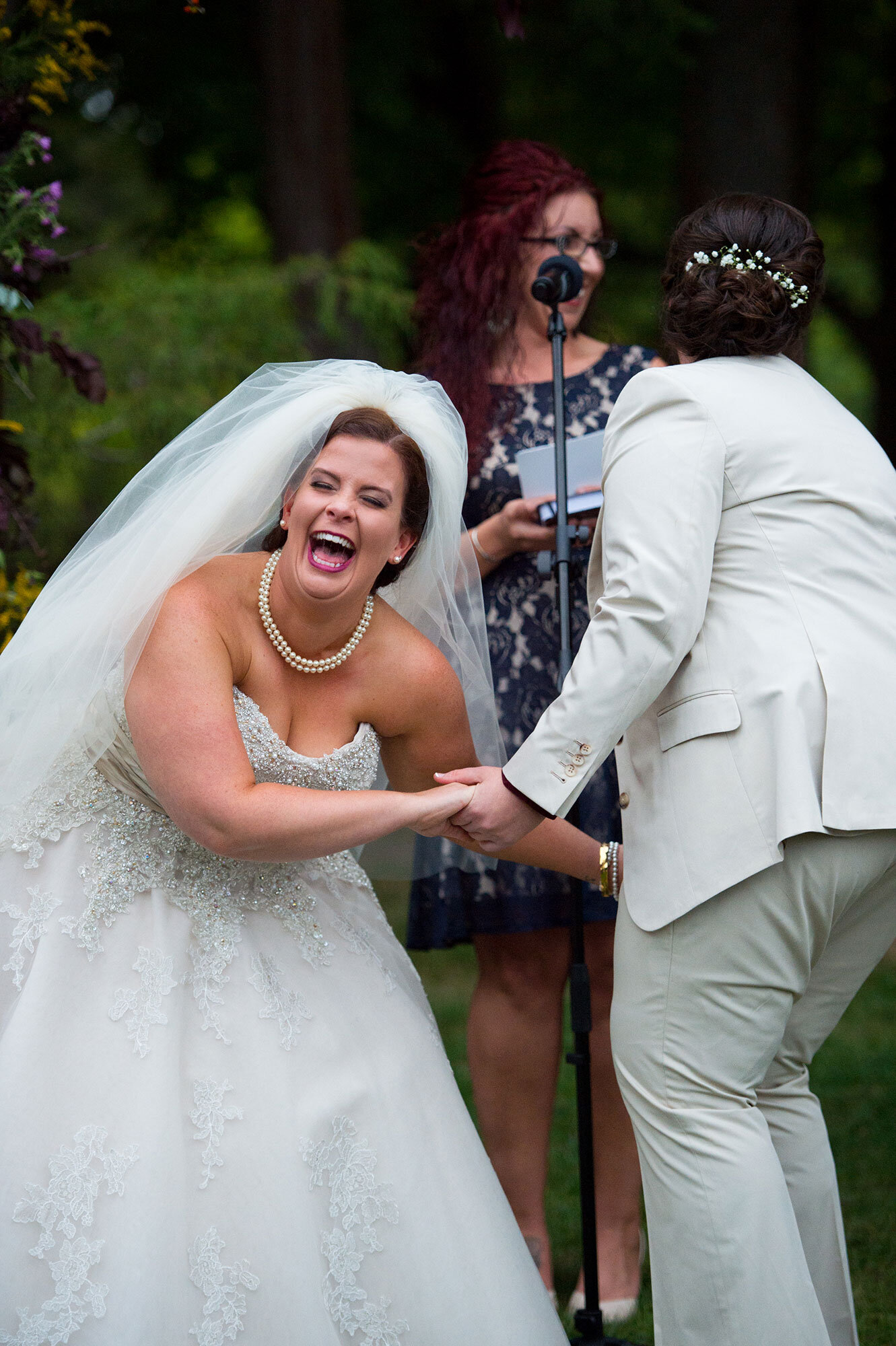 Laughing LGBTQ Brides at Stevens Estate