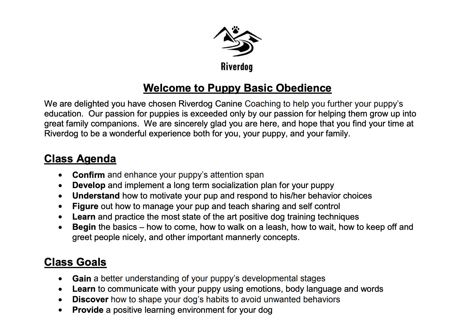 Puppy Basic Obedience Packet -