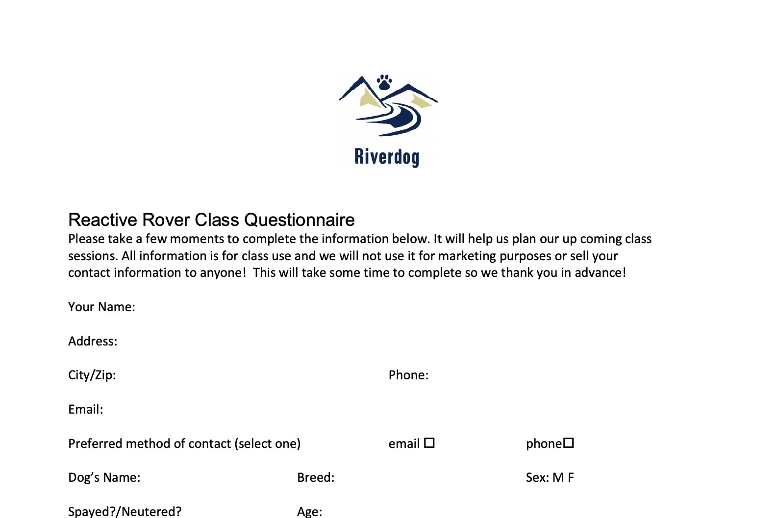 Reactive Rover Class Questionnaire -