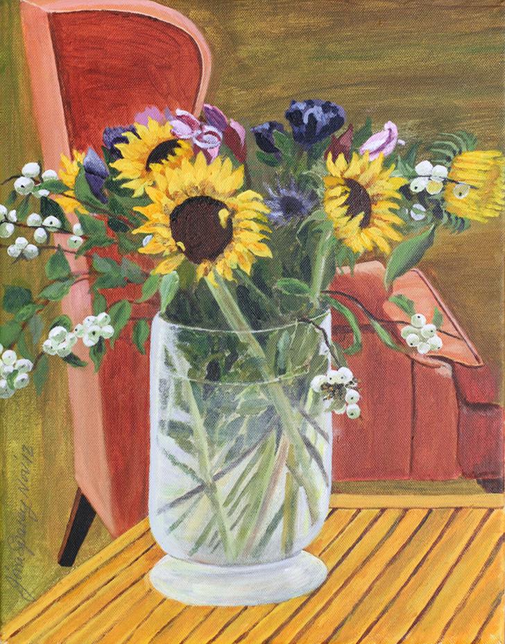 Sunflowers in vase    34 cm (w) x 45.5 cm (h)