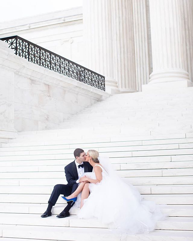 On the steps of the Supreme Court moments before we narrowly avoided a crazy summer flash downpour! Thank you @lcmatarazzo and @coalpatches for adventuring through DC with us ❤ #happilyeverpachter #destinationweddingphotographer #washingtondcwedding