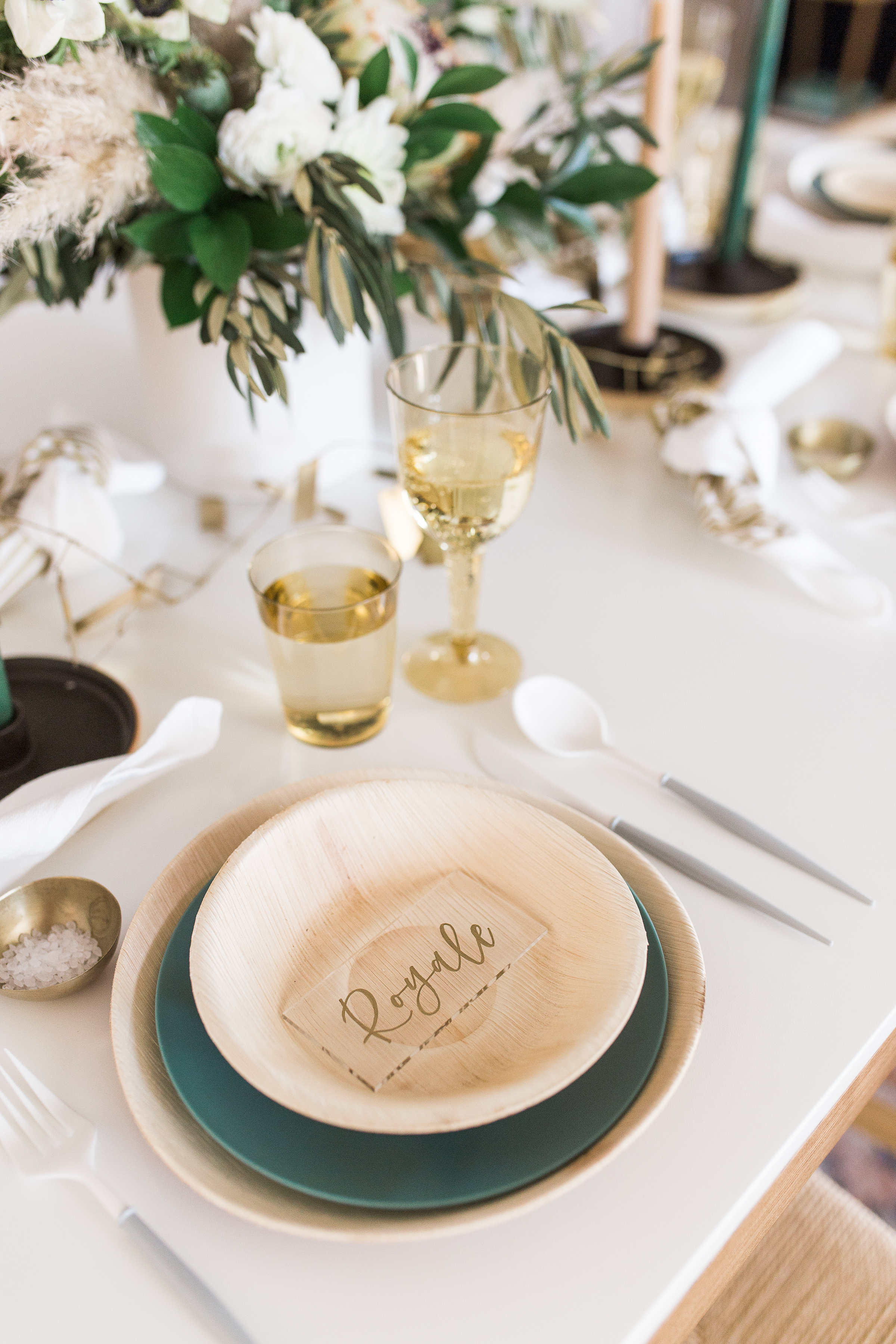 Table setting for indoor brunch party