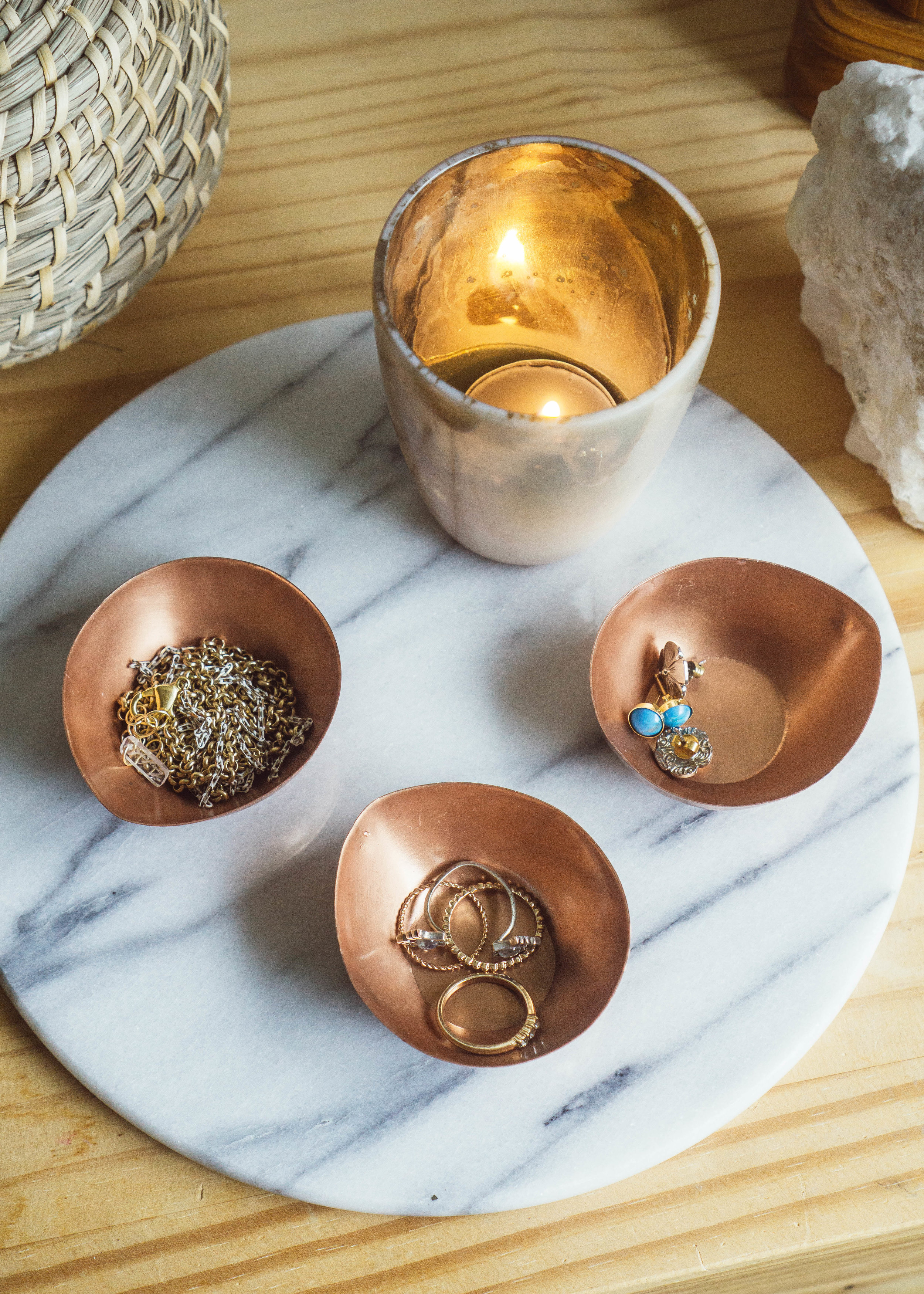 Small metal copper bowls to store jewelry from Foragedhome.com