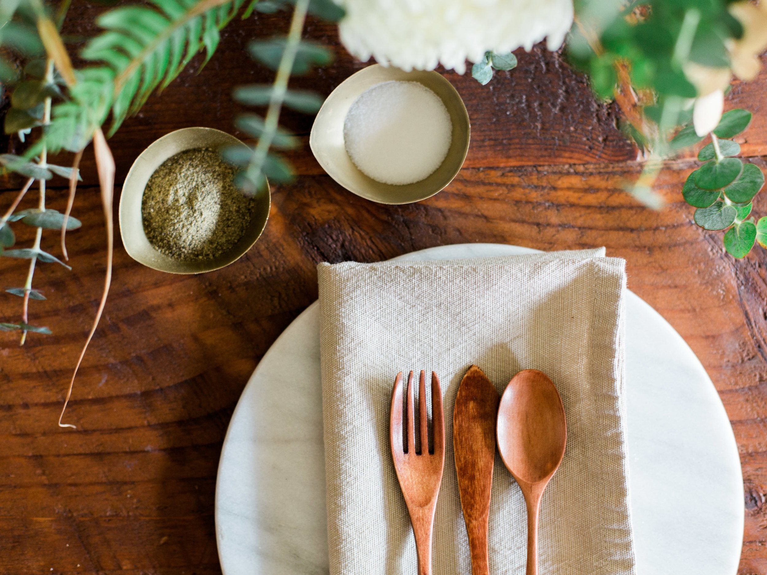 simple place setting for hosted dinner party