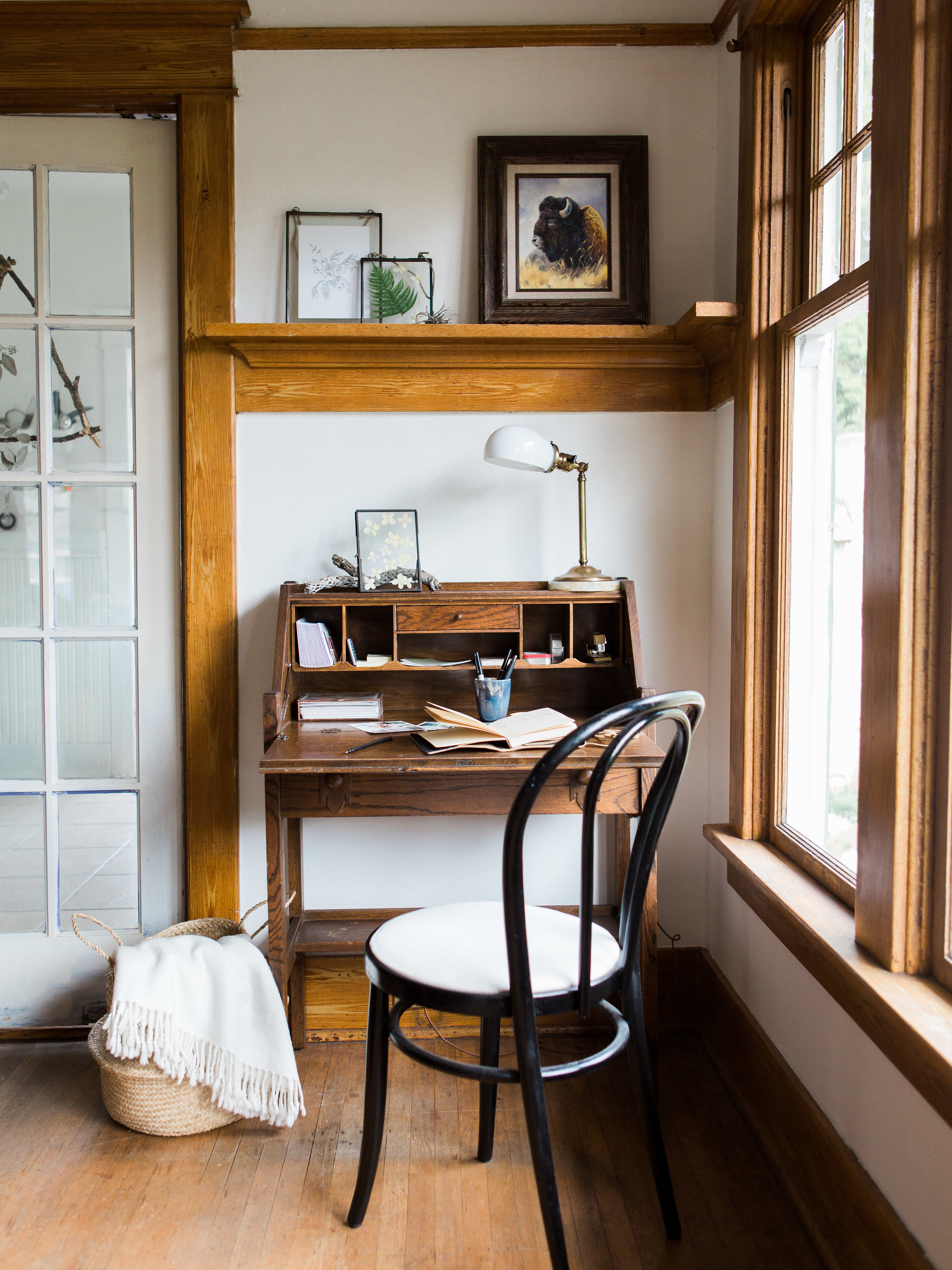 inside a craftsman home and the small workspace from livingforaged.com