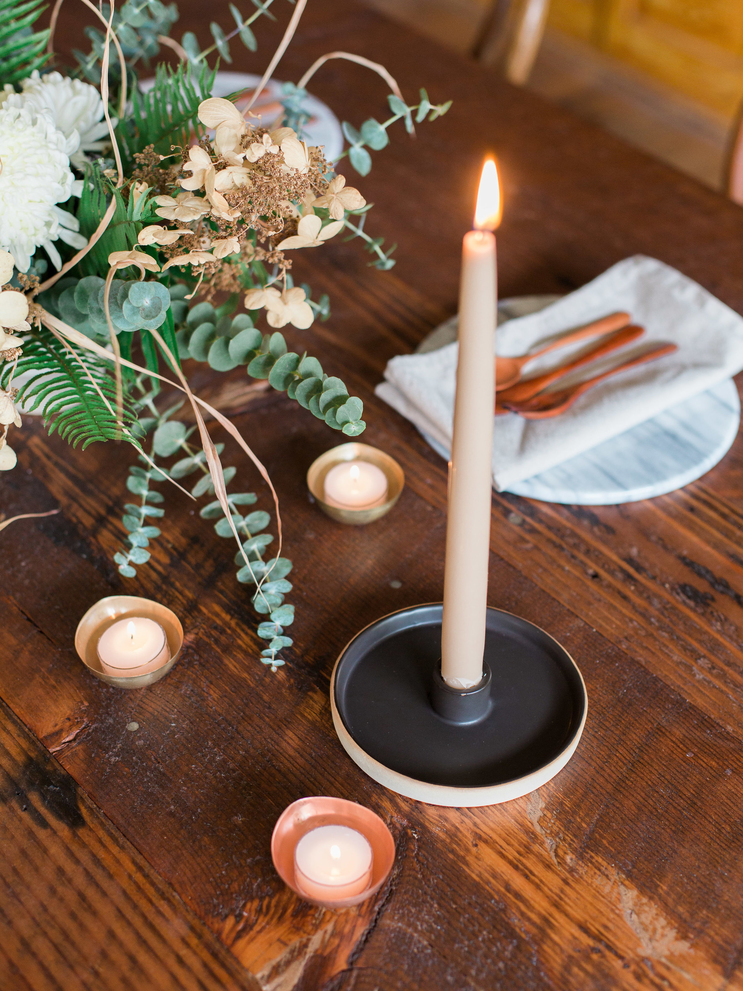 ceramic taper candle holder in black for centerpiece