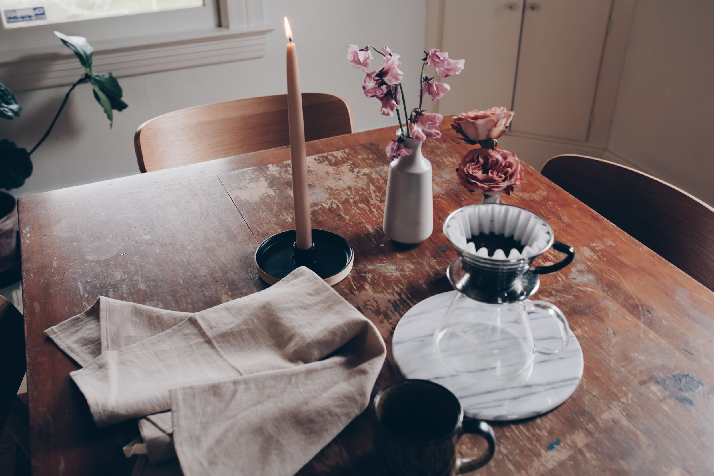 morning table scenes with coffee and candles