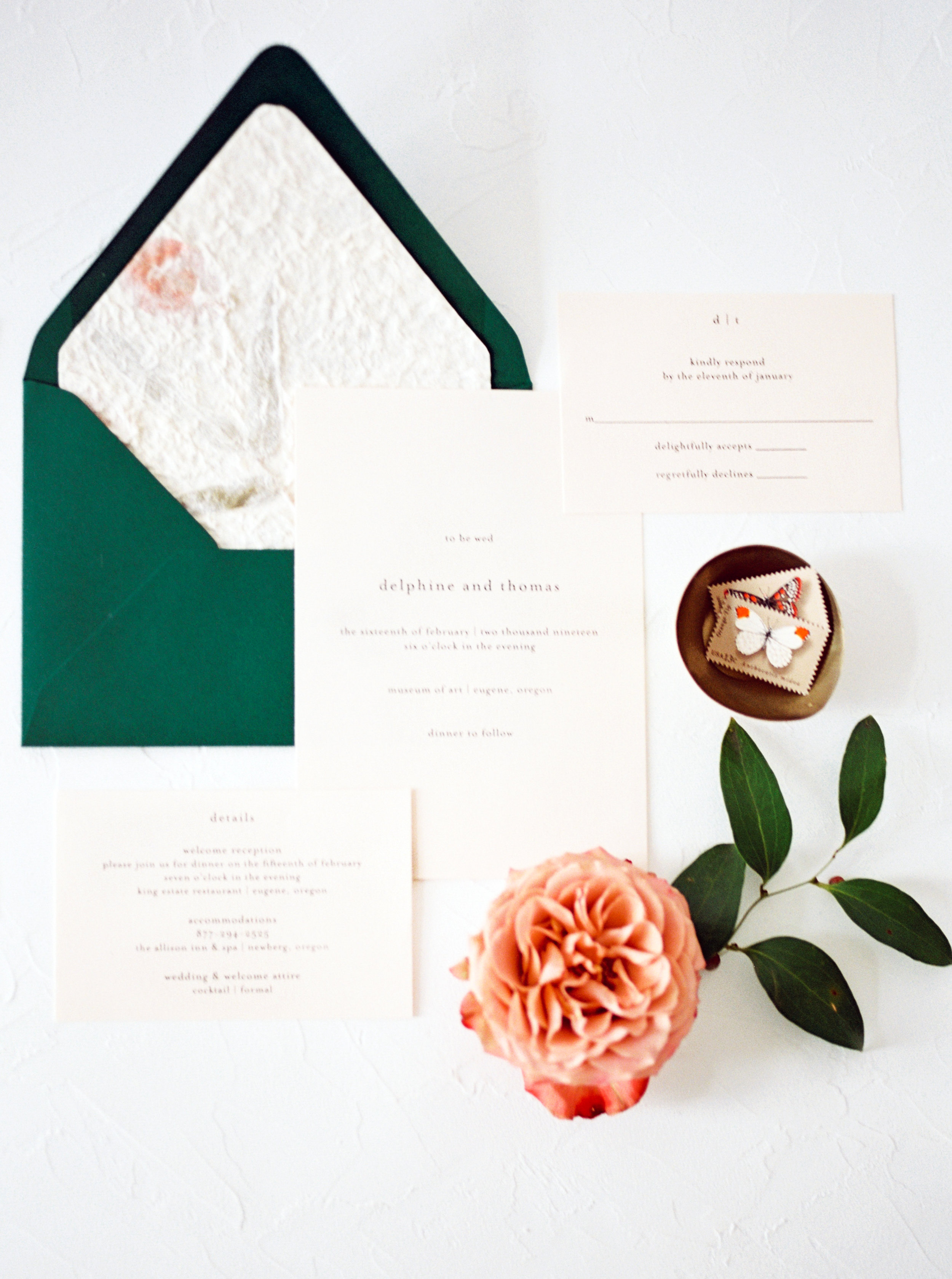 flat lay styling wedding details with vintage props