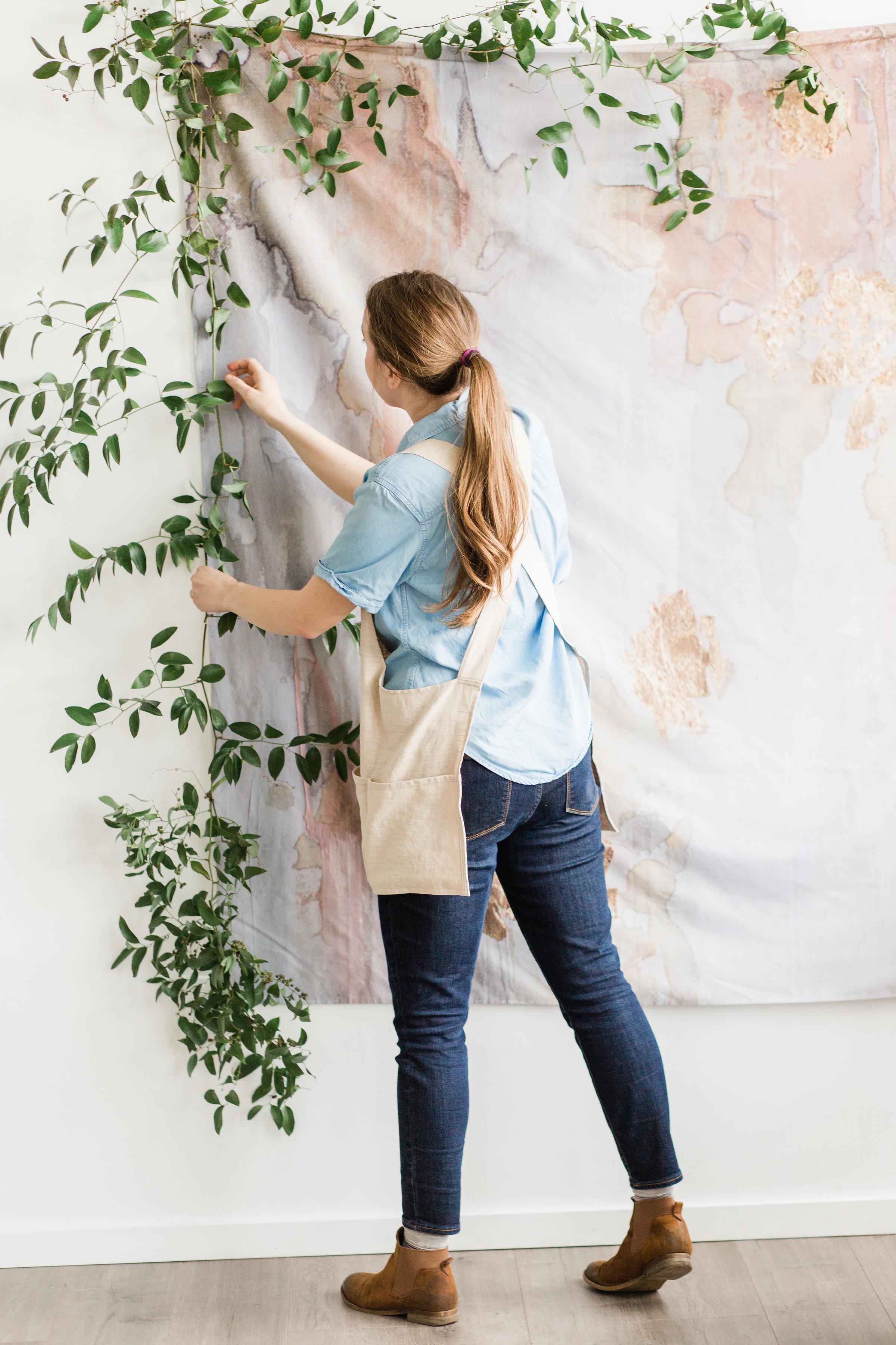 foraged home 100% linen cross back apron in natural beige color