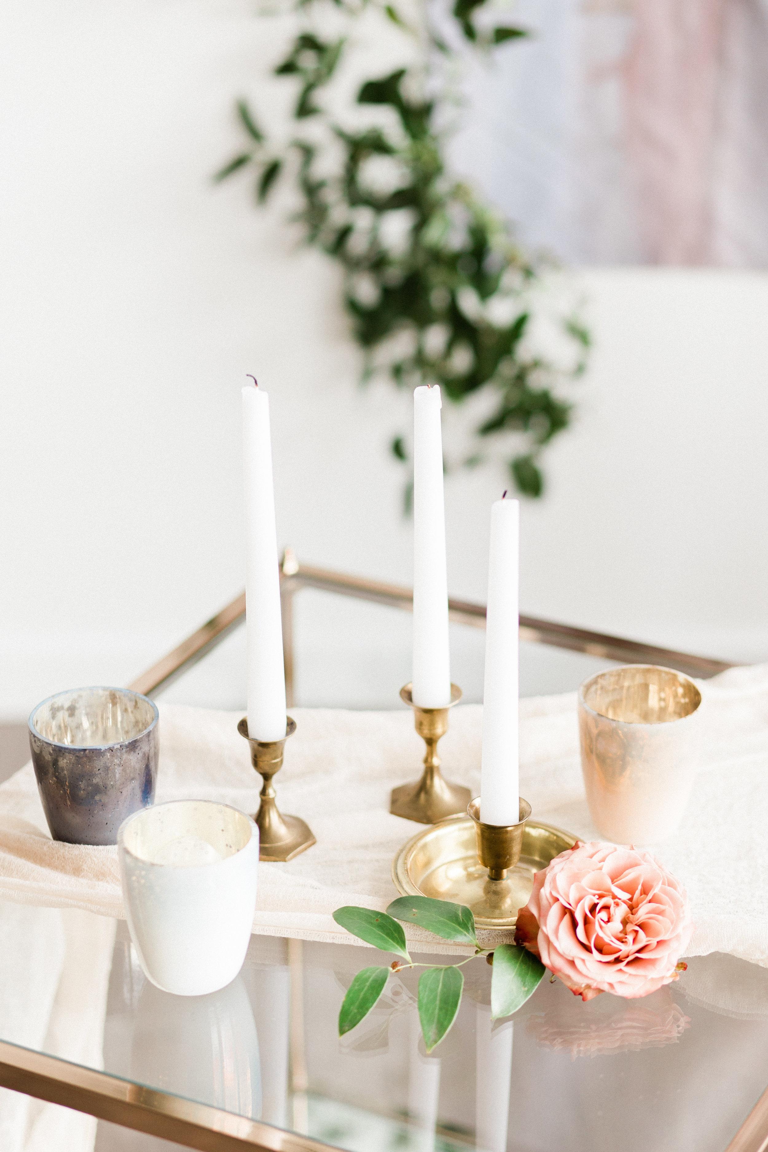 wedding decor votives pastel colors