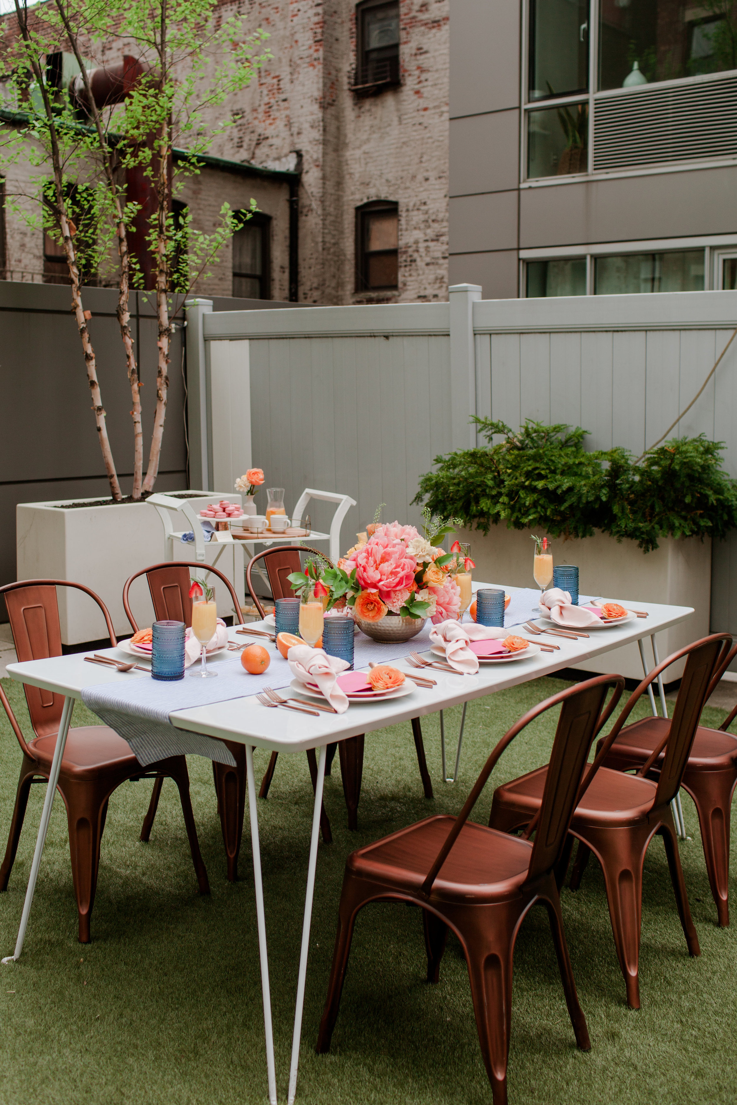 nyc rooftop brunch party with bright colors