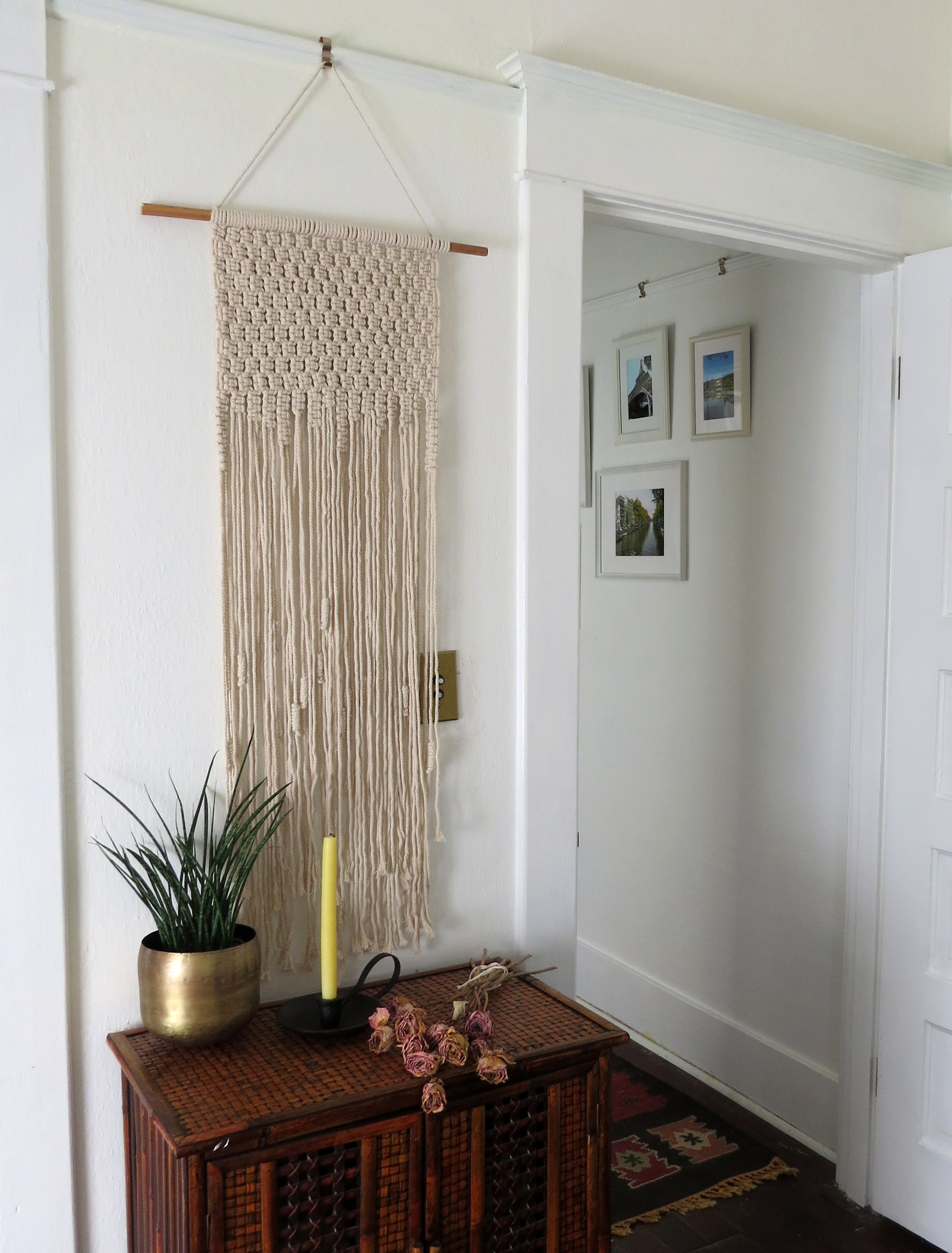 large simple and neutral hanging macrame foraged home