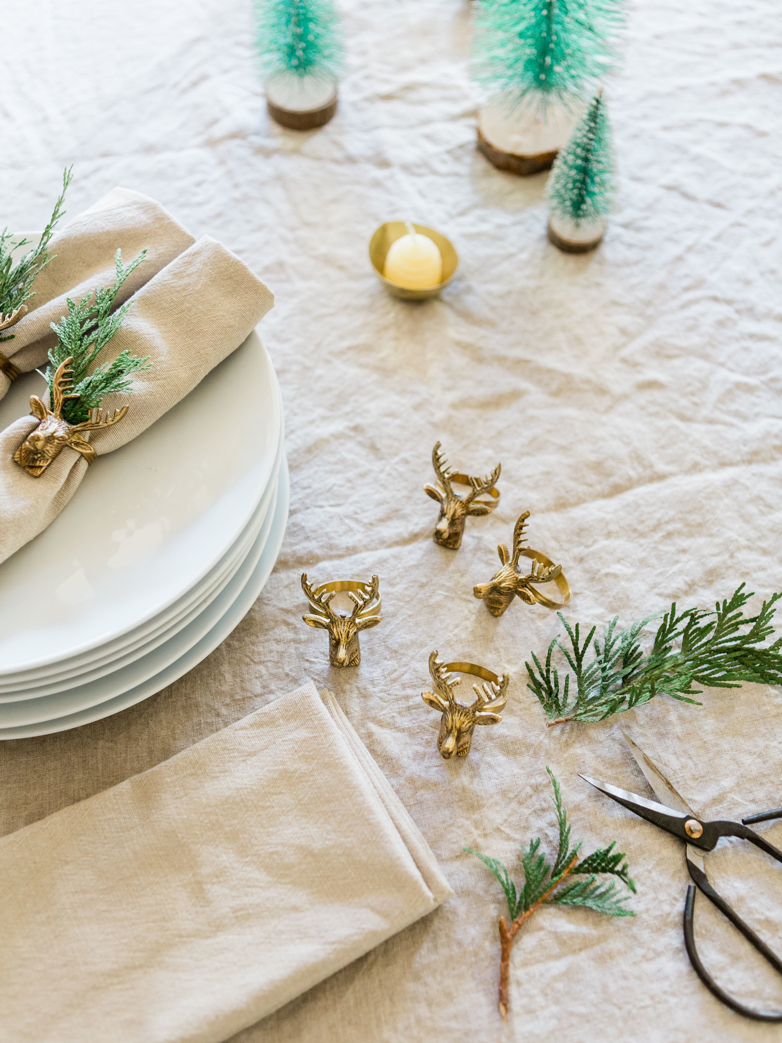 simple holiday place setting with gold napkin ring