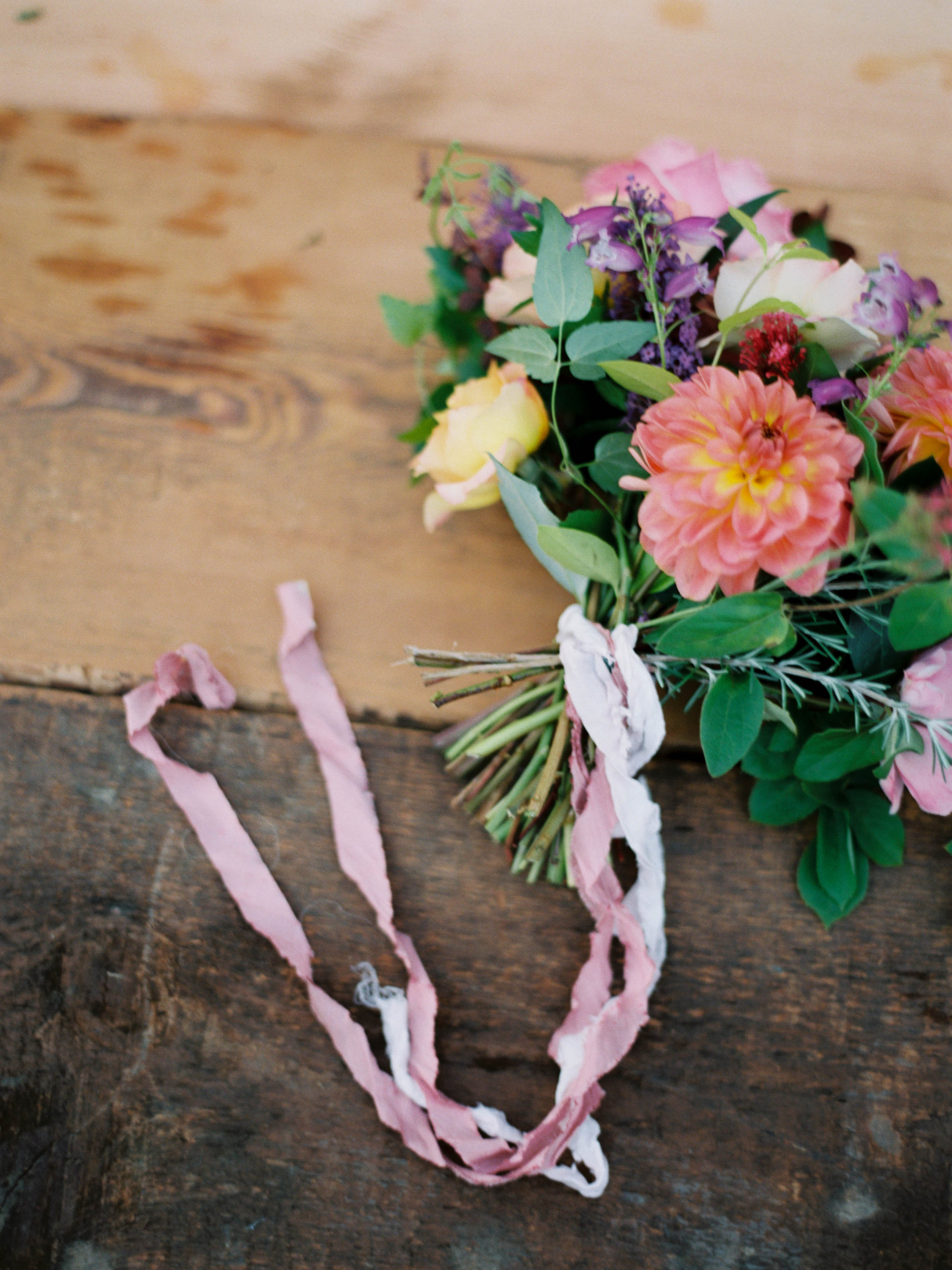 foraged flower bouquet with dahlias and roses for summer wedding