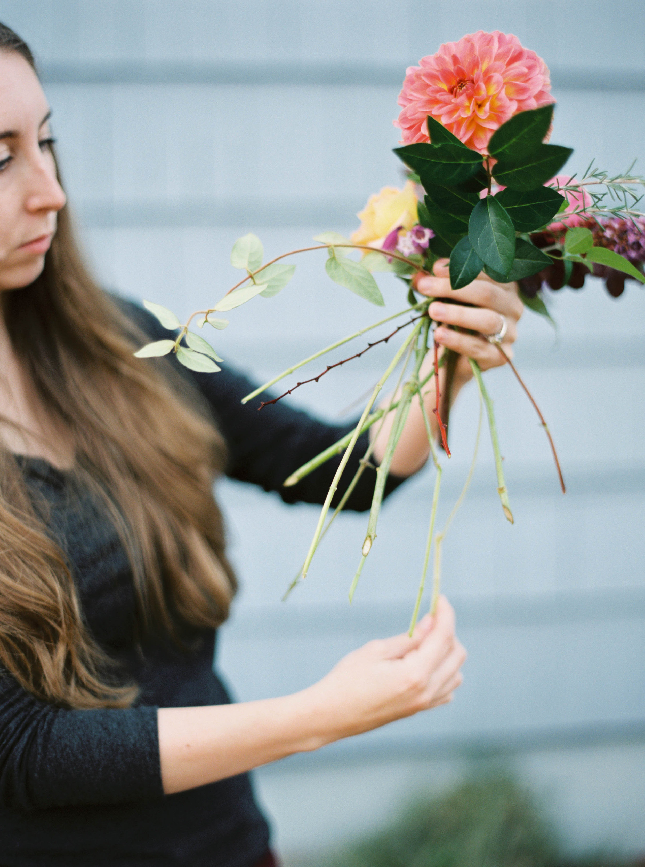 making a wedding bouquet with foraged flowers