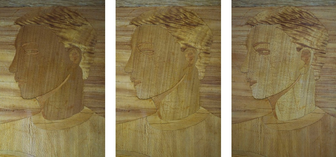 Aimee Spencer Gorham, SEND US FORTH TO BE BUILDERS OF A BETTER WORLD, 1938, wood marquetry mural, Chapman Elementary School, Portland, OR  Details of  chatoyance  of figured wood veneers with change of directional light
