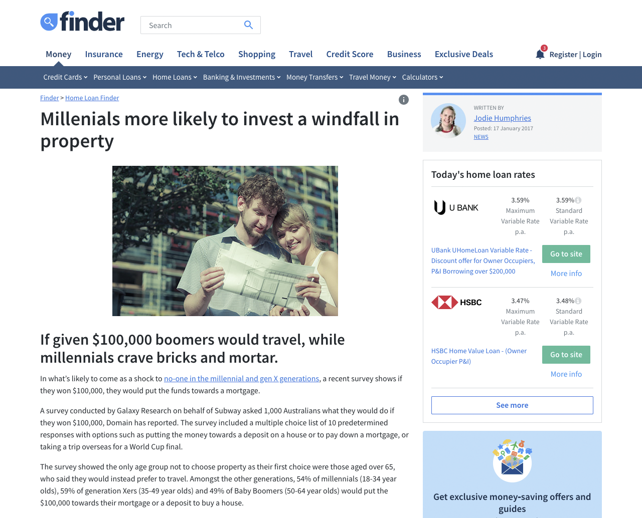 Millenials more likely to invest a windfall in property