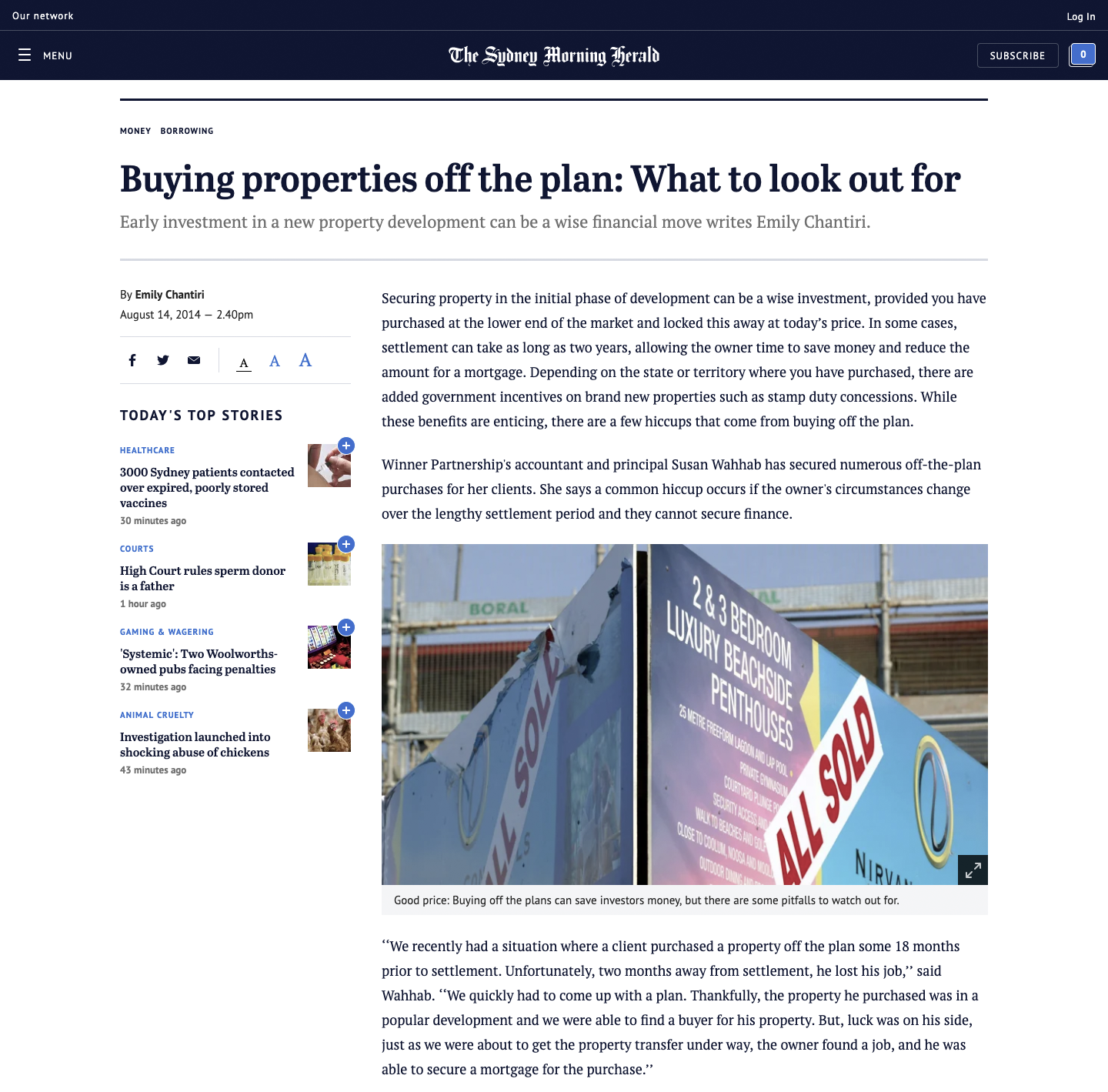 Buying properties off the plan: What to look out for