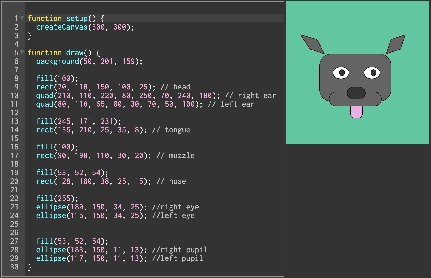 A hand-coded dog in the p5.js editor