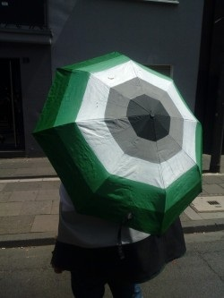The aromantic umbrella on a Pride march in Cologne, Germany.