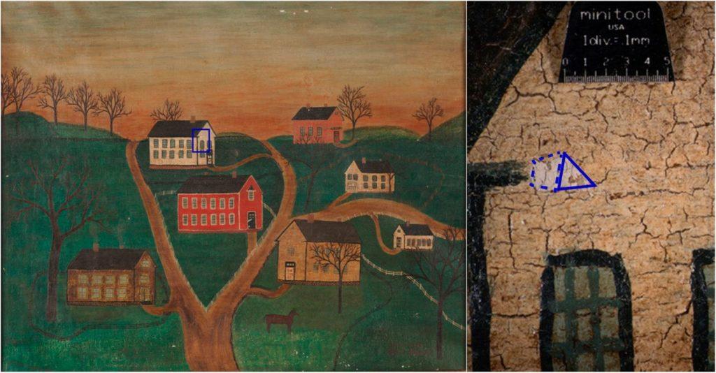 Зразок картини «Сцена села з конями та фабрикою», проаналізований  дослідниками.