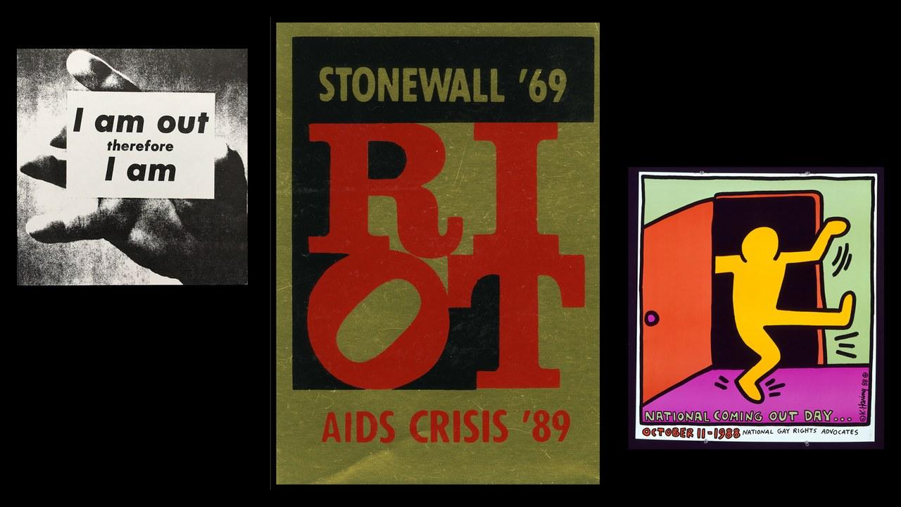 «Тому я є »1989, Адам Ролстон; «Бунт», 1989, Гранд Фьюрі; «Національний день Камінг-ауту» Кіт Харінг, 1988