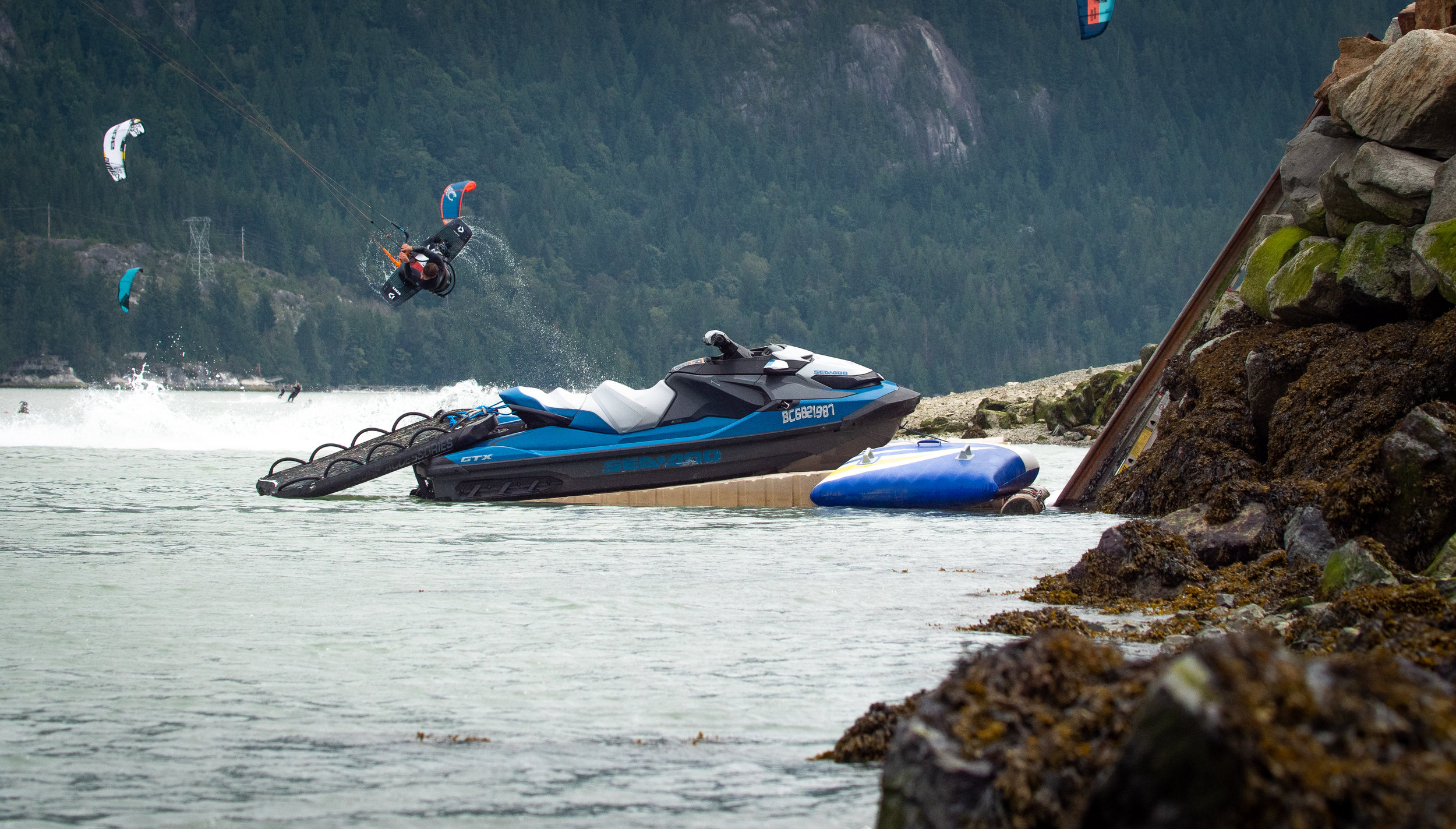 Aaron Hadlow riding at the Squamish Spit! - Photo by Luke McGillewie