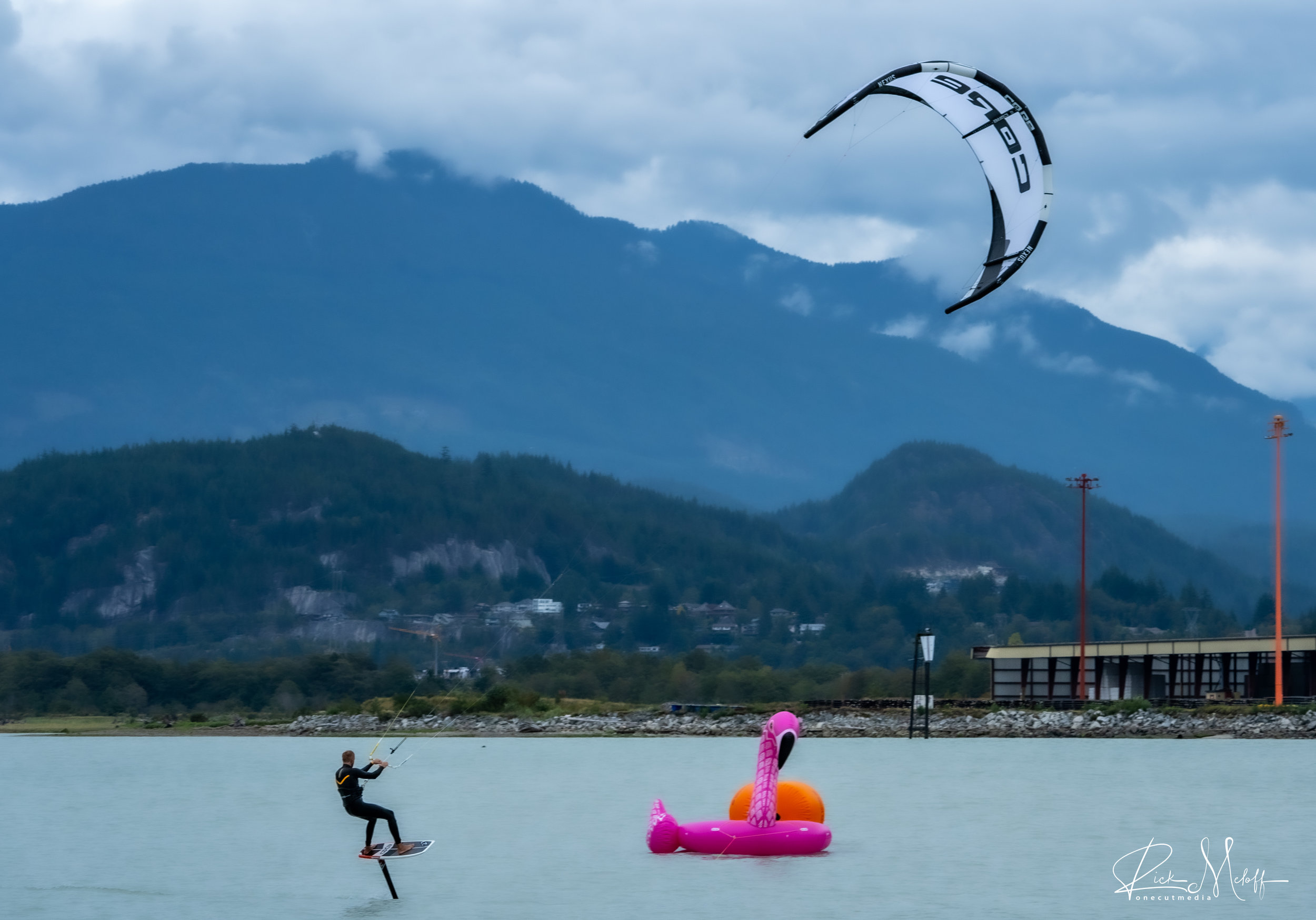 Steven Akkersdijk hydrofoiling in Squamish - Photo by Rick Meloff