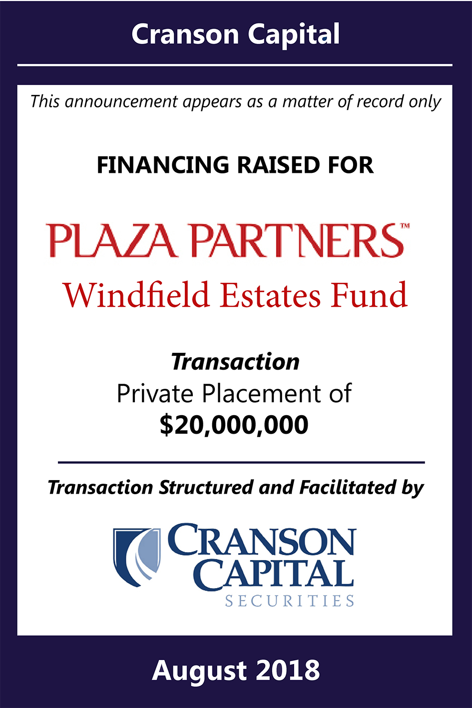 Purple Small - Plaza Parters - Windfield Estates Fund_Tombstone_$20M_August.png