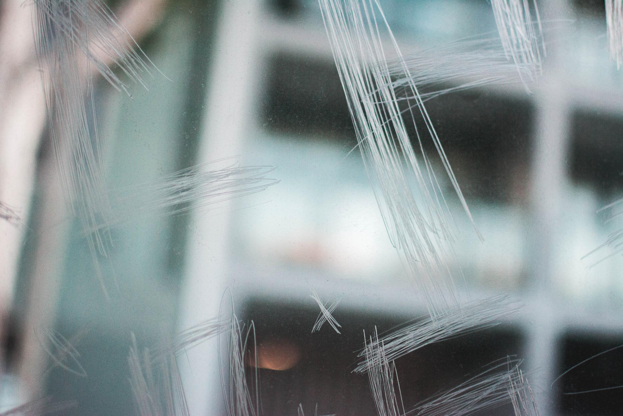 Glass with graffiti/vandalism
