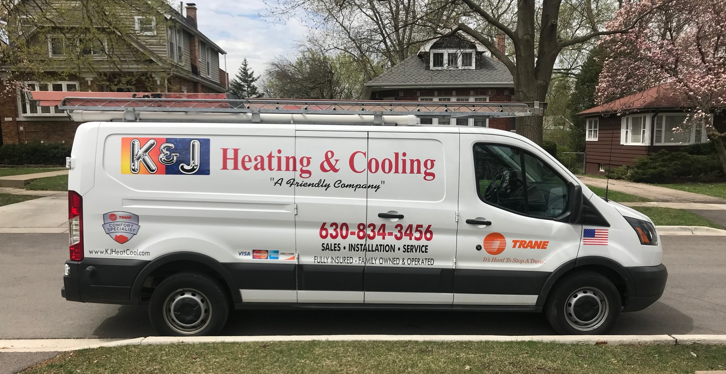 K & J Heating and Cooling, Inc. HVAC service van fully stocked to install a new Furnace and AC