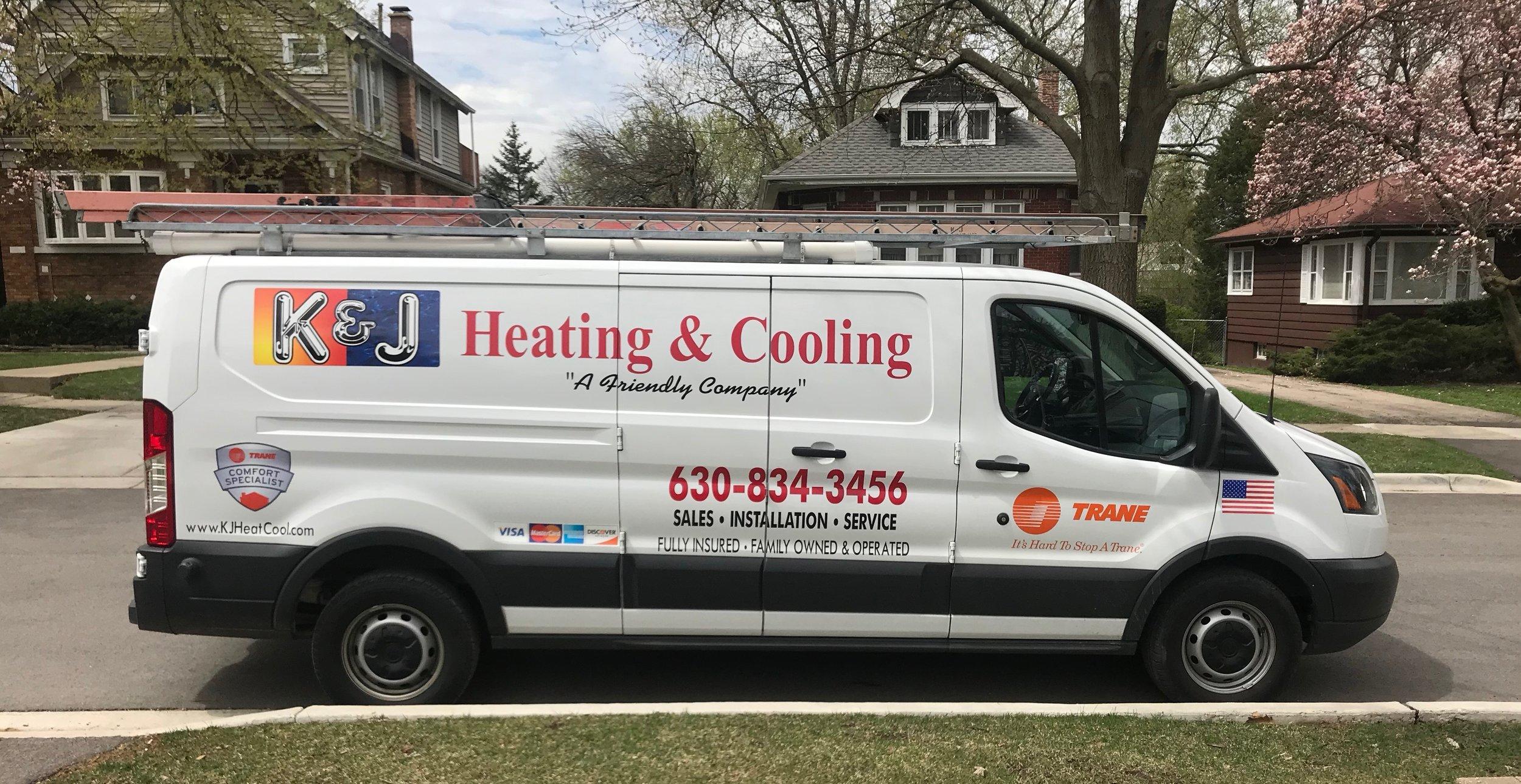 Fully Stocked K & J Heating and Cooling HVAC Repair Service Van